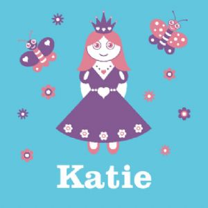 Wallspice Personalised Art :: Kids Name With Pretty Princess Illustration